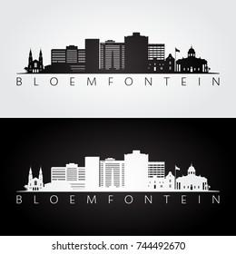 Bloemfontein skyline and landmarks silhouette, black and white design, vector illustration.