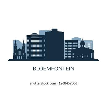 Bloemfontein skyline, monochrome silhouette. Vector illustration.