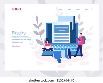 Blog content, Blogging, post Concept for web page, banner, presentation, social media, documents, cards, posters. Vector illustration . Commercial Blog posting, Internet Blogging service