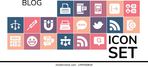 blog icon set. 19 filled blog icons.  Simple modern icons about  - Copywriter, Mobile, Blog, Yahoo, Comments, Rss, Comment, Feather pen, Content, Typewriter, Twitter, Send