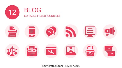 blog icon set. Collection of 12 filled blog icons included Typewriter, Mobile, Conversation, Rss, Blog, Landing page, Influencer, Marketing