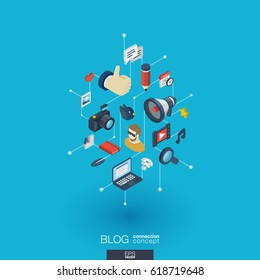 Blog integrated 3d web icons. Digital network isometric interact concept. Connected graphic design dot and line system. Background whith video content publish, post writing, follower. Vector Infograph