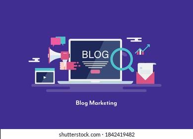 Blog-Marketing, Blog-Werbenetz, Blog-Abonnenten - konzeptionelle flache Design, Vektorgrafik mit Symbolen