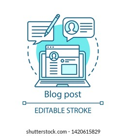 Blog post blue concept icon. Content optimization idea thin line illustration. Blogging, SMM. Copywriting, advertising texts writing. Vector isolated outline drawing. Editable stroke