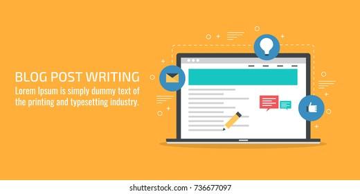 Blog post writing, content marketing, promotion, article publication flat vector banner illustration