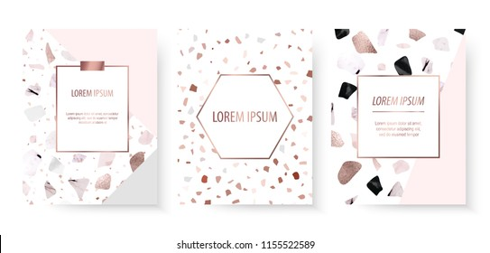 Blog templates with terrazzo texture and rose gold foil.