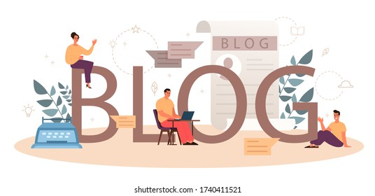 Blog typographic header concept. Sharing media content in the internet. Idea of social media and network. Online communication. Isolated flat vector illustration