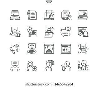 Blog Well-crafted Pixel Perfect Vector Thin Line Icons 30 2x Grid for Web Graphics and Apps. Simple Minimal Pictogram