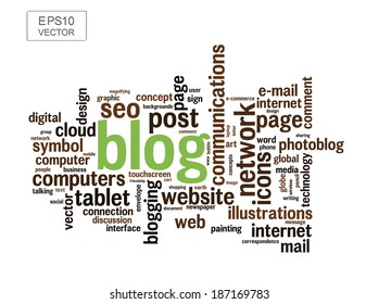 BLOG word cloud collage illustration with different association terms