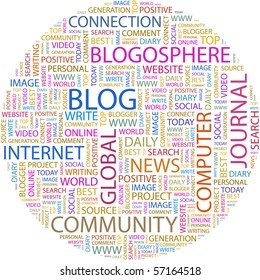 BLOG. Word collage on white background. Illustration with different association terms.