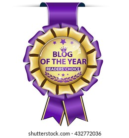 Blog of the Year, Readers' choice - golden purple award ribbon.