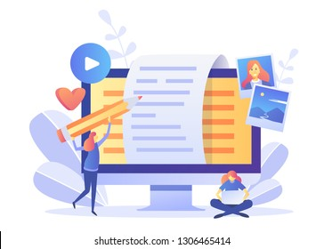 Blogger, Blog content, Blogging, post Concept for web page, banner, presentation, social media, documents, cards, posters. Vector illustration . Commercial Blog posting, Internet, Making You Content