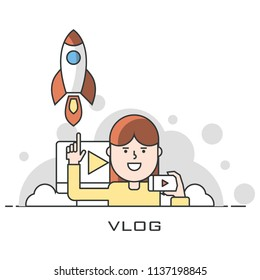 Blogger and bloggin. Illustration thin line design of vector doodles, infographics elements.Video Blogger. Vlogging. Infographic design.Vlog.