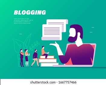 Blogger concept with tiny people, laptop and social media review and feedback icons. Landing page design template, web interface, mobile app. Vector flat illustration.