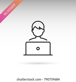Blogger, laptop user thin line isolated flat vector icon