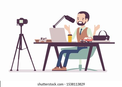 Blogger podcaster streaming. Man writing material to blog, reviewing for online journal or website content, posting short video to vlog, recording program. Vector flat style cartoon illustration