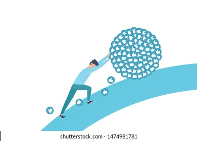 Blogger pushes bunch of influencer likes. Influencer hard work in social media or social networks. Work like sisyphus. Flat vector illustration in blue color.