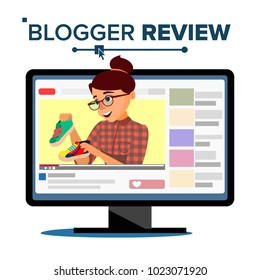 Blogger Review Concept Vetor. Popular Young Video Streamer Blogger Girl, Woman. Fashion Blog. Live Broadcast. Online Channel. Isolated Flat Cartoon Illustration
