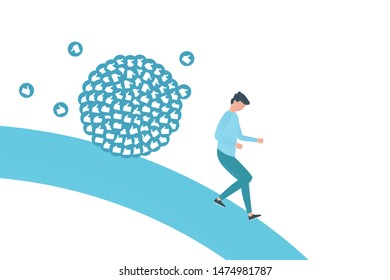 Blogger runs away from likes bunch. Influencer hard work in social media or social networks. Work like sisyphus. Flat vector illustration in blue color.