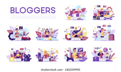 Blogger set. Various video blogger make review. Share content in the internet. Popular people streaming online. Education and fashion blog. Vector illustration in cartoon style