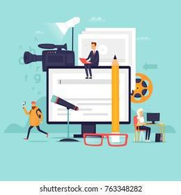 Blogger, video shooting. Flat design vector illustration.