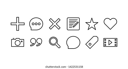 Blogger Web Line Icon Set
