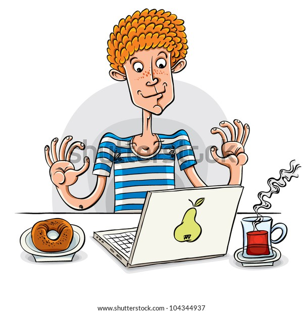 Blogger. Young man with laptop and donut with tea, vector illustration.