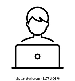 Blogger/internet user. Office worker. Co working place. Flat icon for apps and websites. Thin line icon isolated on white background.