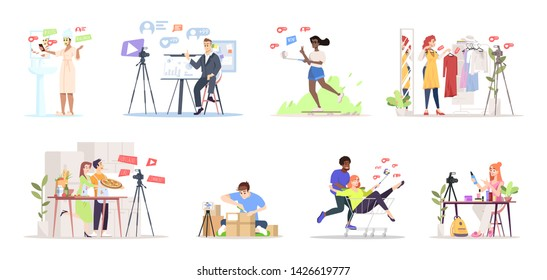 Bloggers streaming flat vector illustrations set. Influencer marketing. Streamers, vloggers cartoon characters. Fashion, online review, culinary vlogs content creators. Live video channel concept