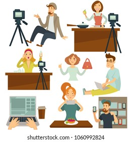 Bloggers and vloggers vector people making internet photo and video for blog or vlog review