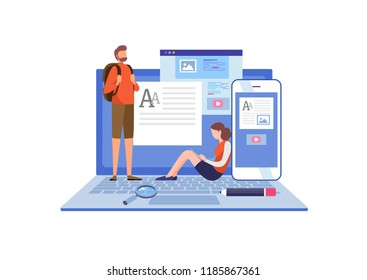 Blogging, Blogger. Freelance. Creative writing. Copy writer. Content management. Flat cartoon miniature  illustration vector graphic on white background.