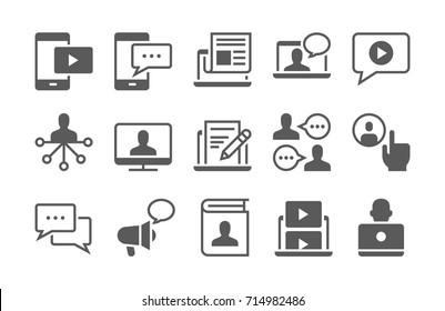 Blogging, chat, media and communication icon set.