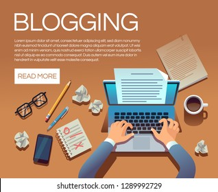 Blogging concept. Writing story book and blog articles. Writer journalist copywriter type on laptop vector illustration