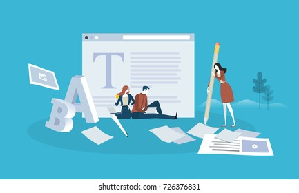 Blogging. Flat design people and technology concept. Vector illustration for web banner, business presentation, advertising material.