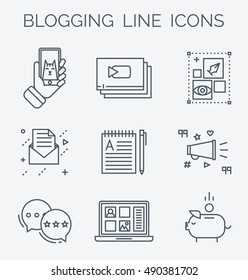 Blogging line icons. Making modern content with phone, blog design, email marketing, making money , cat funny video. Modern linear symbols.