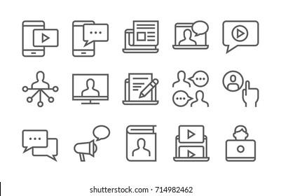 Blogging, media and communication icon set. Thin line, flat design.