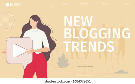 Blogging New Trends, SEO Analysis Service, Educational Startup for Blogger, Video Content Creator Web Banner, Landing Page Template. Blogger Recording Video on Camera Trendy Flat Vector Illustration