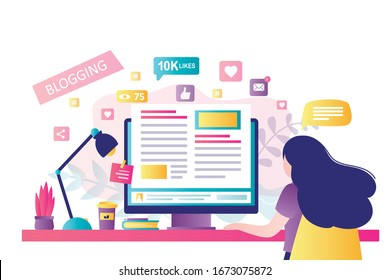 Blogging on desktop computer. Content development for online news, blogs and website, copywriting concept. Woman blogger or copywriter on modern workplace. Flat design vector illustration