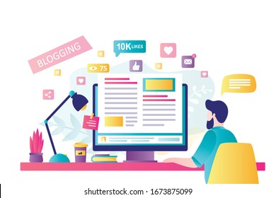Blogging on desktop computer. Content development for online news, blogs and website, copywriting concept. Man blogger or copywritter on modern workplace. Flat design vector illustration