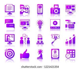 Blogging Online silhouette icons set with reflection. Web sign blog kit. Website Bloger vector pictogram collection internet vlog, tv presenter. Gradient contour simple online icon isolated on white