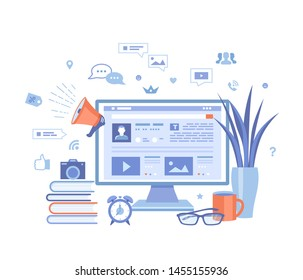 Blogging Posting Education Writing Internet Blog Content-strategy, text, title, photo, video. Monitor, web page, infographics, social media, books, loudspeaker.Vector illustration on white background
