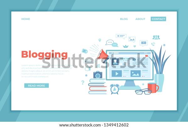 Blogging Posting Education Writing Internet Blog Stock