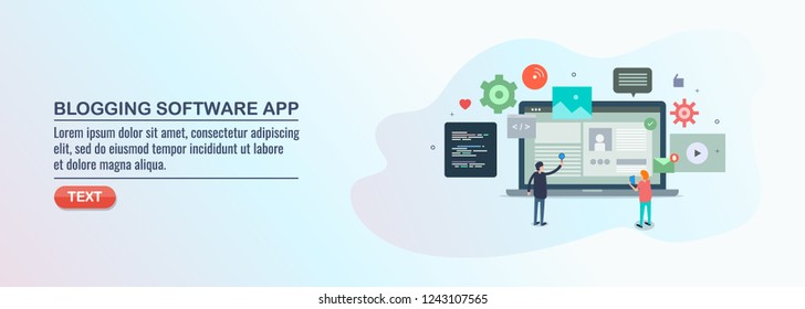 Blogging software application, CMS, managing content online flat design vector banner with characters and icons
