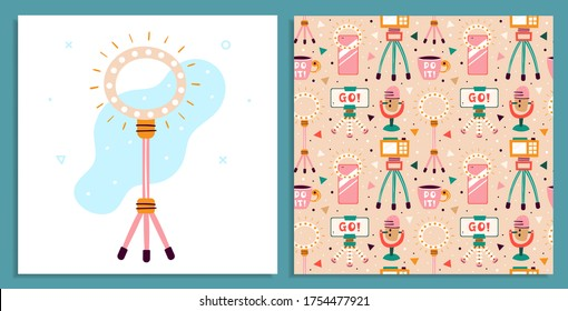 Blogging, vlogging set. Filming items. Camera, smartphone, tripod, lightning, selfie, stream, cup. Flat colourful vector seamless pattern, texture, background, backdrop isolated on beige background.
