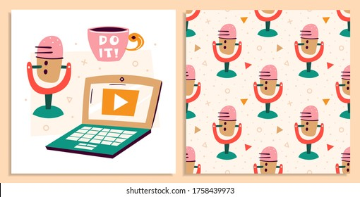 Blogging, vlogging set. Filming items. Microphone, laptop, cup of coffee, tea. Communication, online. Flat colourful vector seamless pattern, texture, background. Card isolated on white background.