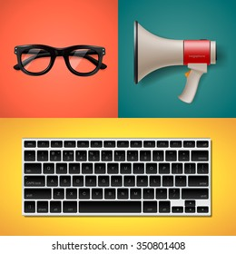 Blogging and writing for website, trendy objects in flat style, keyboard, megaphone and glasses, vector illustration.