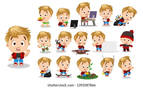 Blond boy in red shirt, jeans. Kid in different poses and situations: skateboards, walks, runs, plays. Full length front and three quater view. Ready to use cartoon vector set isolated on white.