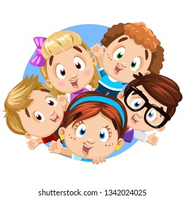 Blond, brunette, redheaded boys and girls waving hands, peeping out round blue frame, circle. Cartoon template, design isolated on white for children`s, baby`s products, food, cover, clothes, toys.