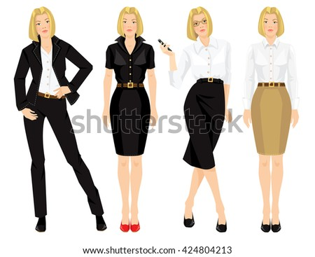 2510b4007a8 Blond Business Girls Formal Clothes Isolated Stock Vector (Royalty ...