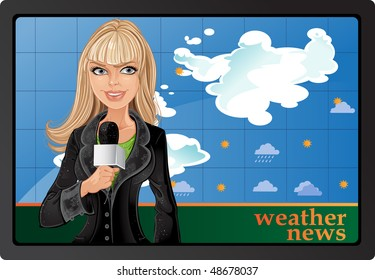Blond girl anchorman with microphone and weather news